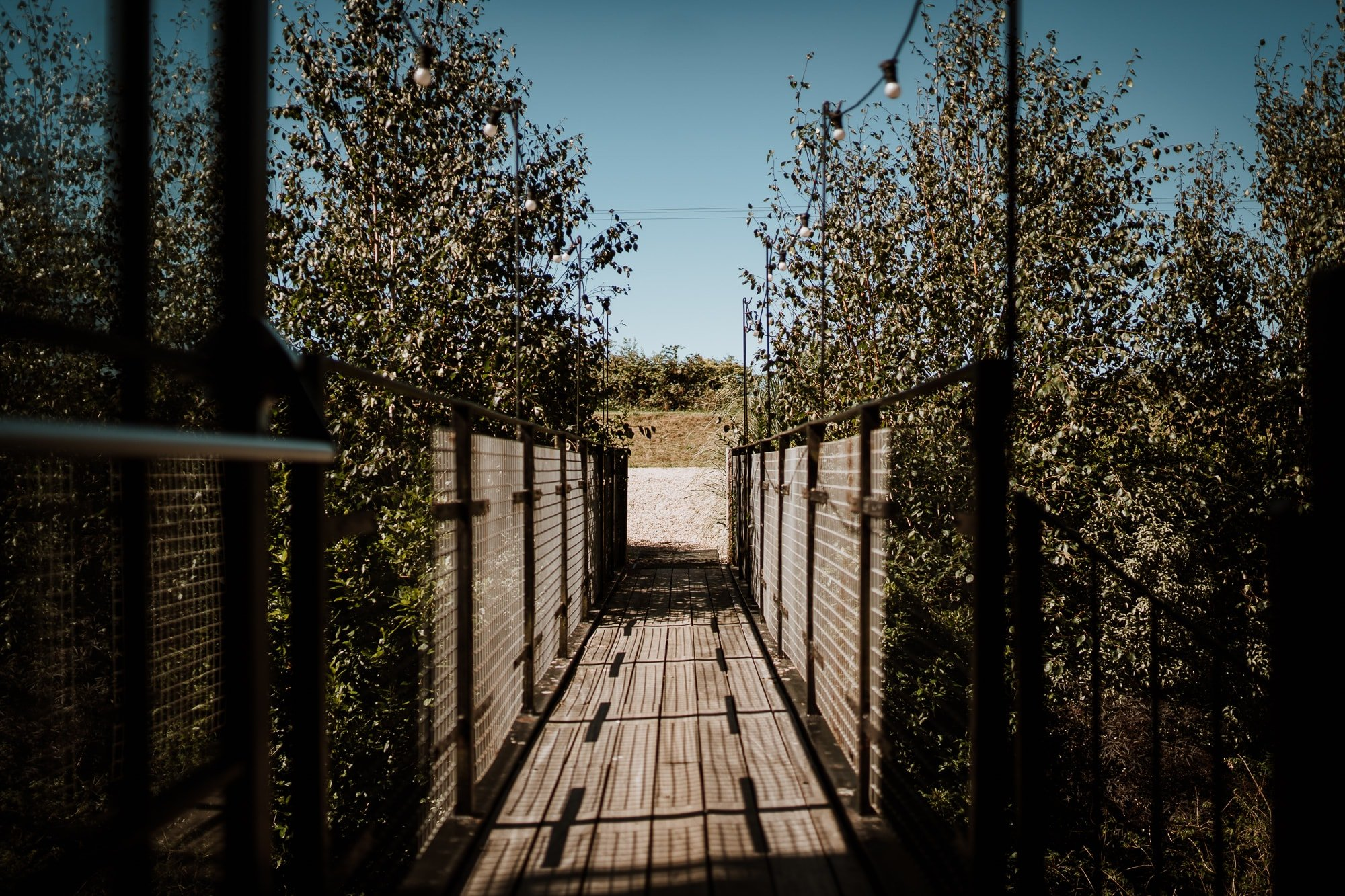 The bridge by the doors of The Winding House, Kent Wedding venue