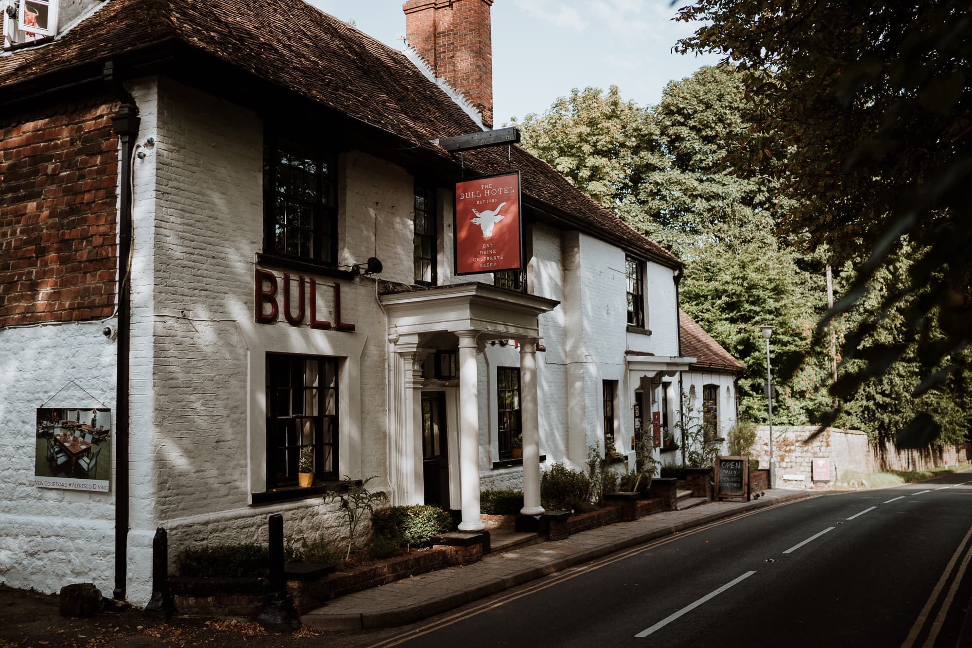 The front aspect of The Bull Hotel, Wrotham. Kent Wedding Venue