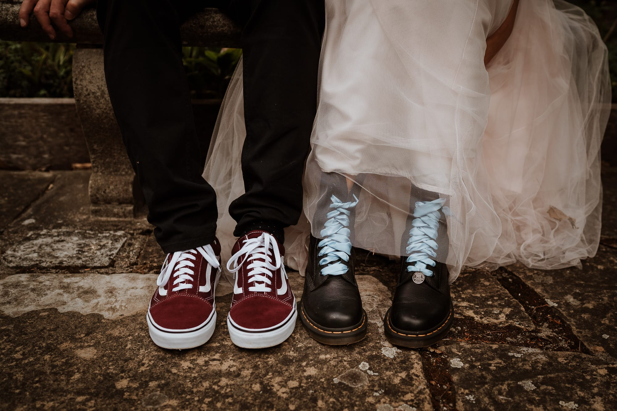 Bride in Docmarten boots and Groom in Vans