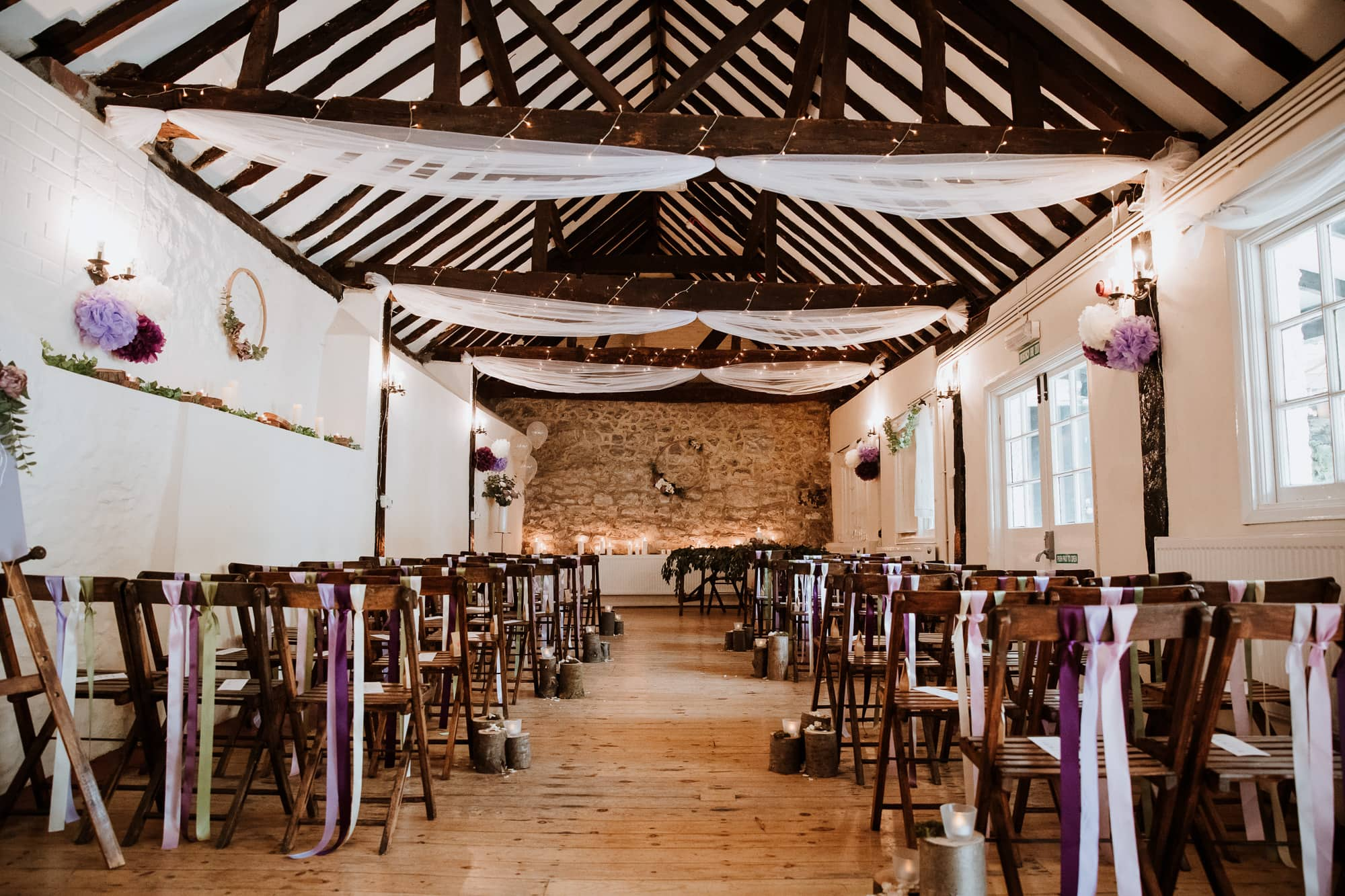 The Buttery ceremony room dressed for a rustic Kent wedding
