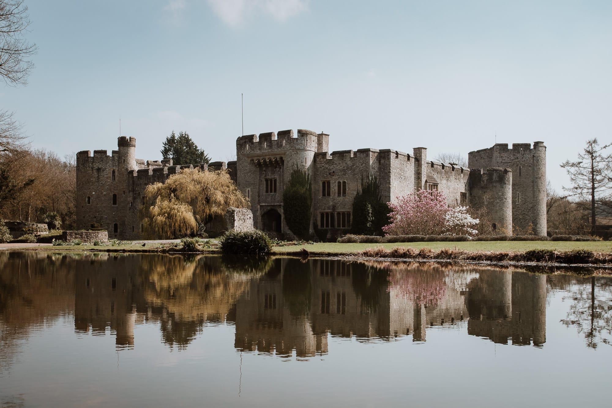 Allington Castle Kent Wedding venue under a clear blue sky