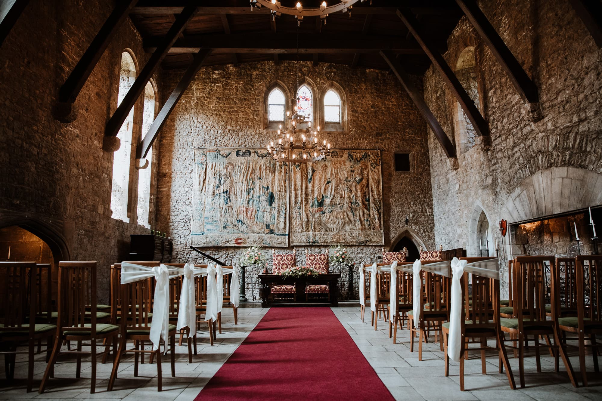 The Great Hall at Allington Castle dressed for an intimate kent wedding