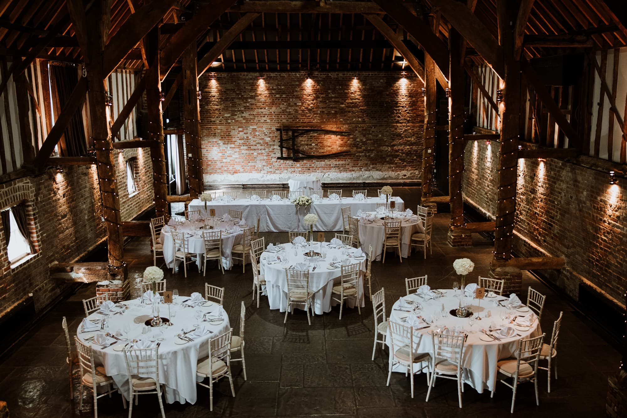 Cooling Castle Barn dressed for a wedding breakfast
